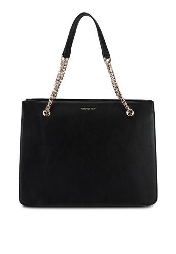 Forever New black Aubrey Square Chain Handle Tote Bag 2EBFCAC86F1E86GS_1