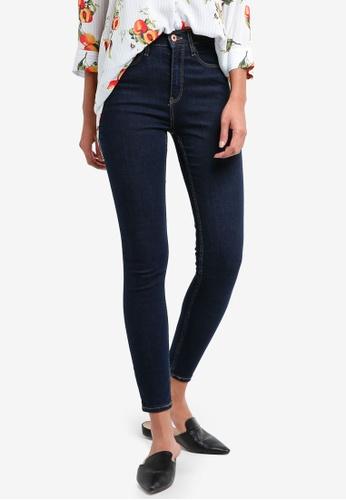 River Island navy High Waisted Skinny Jeans 88418AA7B9DA43GS_1