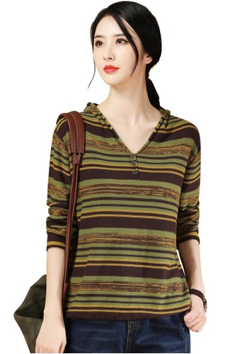 A-IN GIRLS multi Fashion V-Neck Striped Sweater A3167AA635BFDAGS_1