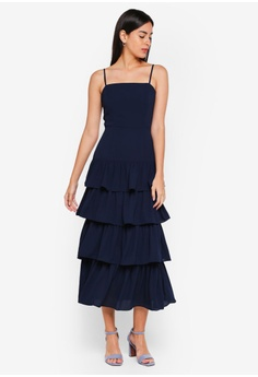 f0e6bd78a5c0 55% OFF MDSCollections Dionne Layered Dress In Midnight RM 208.00 NOW RM  93.90 Sizes XS
