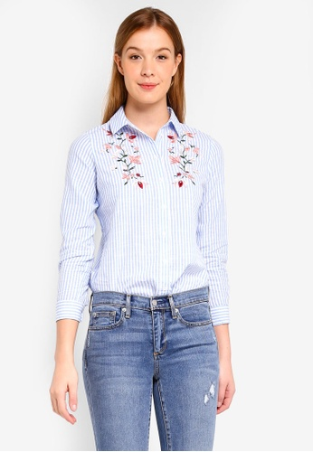 Dorothy Perkins blue Petite Embroidered Shirt B267EAA9025128GS_1