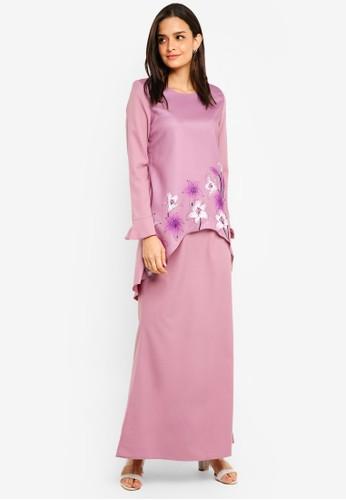 Gene Martino purple Flower Print Kurung Batik 7F9F8AA0FAF1EFGS_1