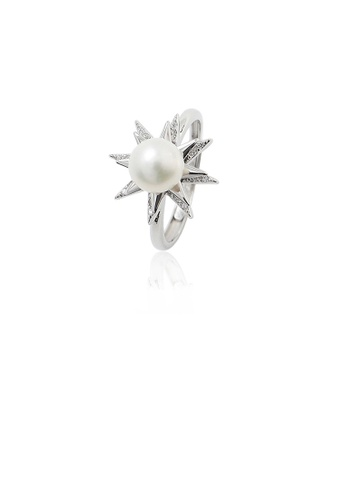Glamorousky white 925 Sterling Silver Fashion Simple Star Freshwater Pearl Adjustable Ring with Cubic Zirconia 83F3AACF101B9AGS_1