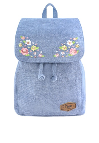 Ripples blue Spring Blossom Floral Embroidery Denim Ladies Backpack 59208AC26273E7GS_1