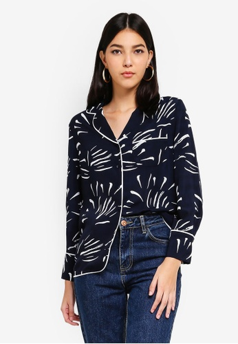 ZALORA multi and navy Contrast Piping Shirt 9DC86AA19DFCE3GS_1