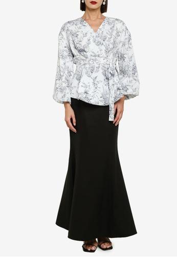 Zalia 黑色 and 白色 Wrap Top Kurung Belted Set FC6C9AAC14E45EGS_1