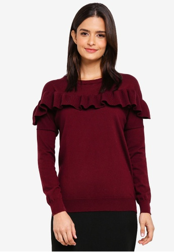 Zalia red Knitted Frill Sweater 4610EAAA8D0614GS_1