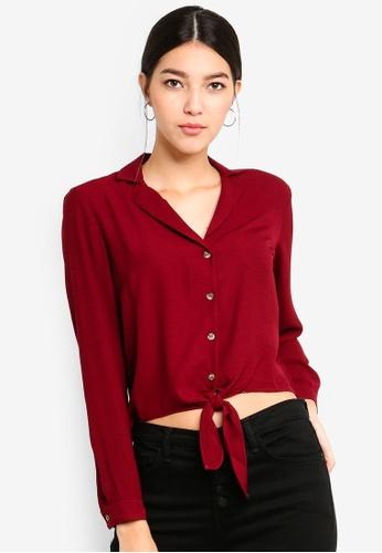 Miss Selfridge red Burgundy Tie Front Shirt 0052AAA778E3F0GS_1
