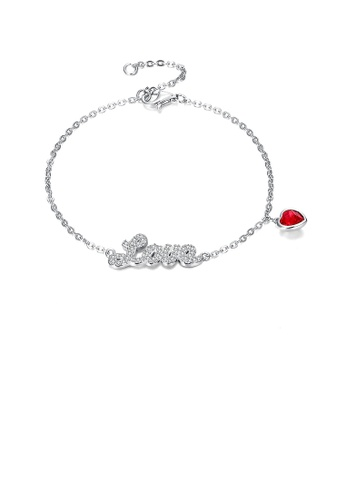 Glamorousky white 925 Sterling Silver Simple Romantic Letter Love and Red Heart Bracelet with Austrian Element Crystal E17E9AC22093EBGS_1