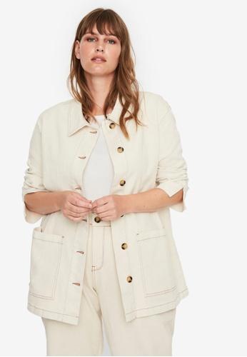 Vero Moda beige Plus Size Shopper Long Sleeve Long Jacket 4DBFDAA362B7B1GS_1