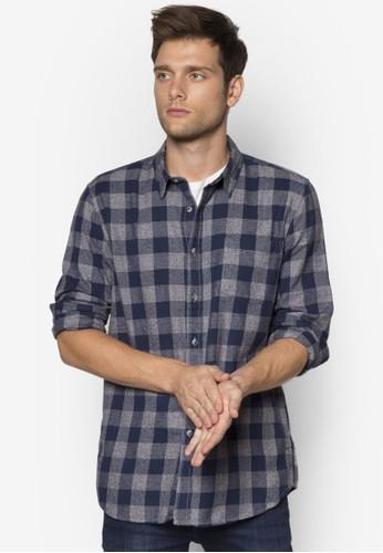 esprit招聘格紋休閒長袖襯衫, 服飾, 襯衫