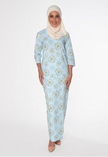 Buy House Of Olsha Batik Cotton Kurung Kedah Seri Blue Zalora Hk