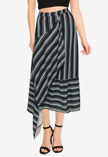 Nichii 黑色 Stripe Wrap Front Flare Skirt A391EAA7EDC550GS_1