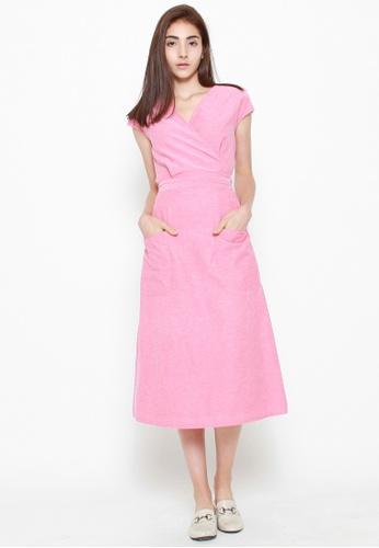 QLOTHE pink Oriana Wrap Top 320D8AAE7F3E50GS_1