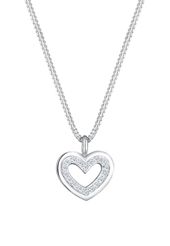 f063229a9cbf64 Elli Germany silver Necklace Heart Love Classic Diamond (0.18 carat) 925 Sterling  Silver 8244AACB1D084DGS_1. CLICK TO ZOOM