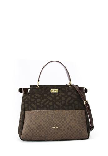 SEMBONIA brown Jacquard Trimmed Leather Monogram Tote Bag (Dark Brown) SE598AC0RWLBMY_1