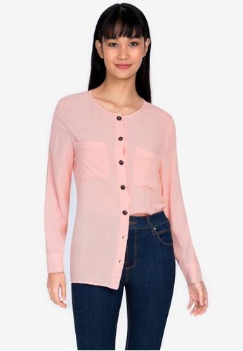 ZALORA BASICS pink Double Pocket Blouse DE258AA672A9E4GS_1