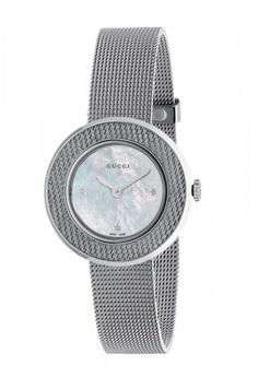 a444bd0d197 Gucci silver GUCCI U-Play Diamond Mother of Pearl Dial Stainless Steel Mesh Ladies  Watch