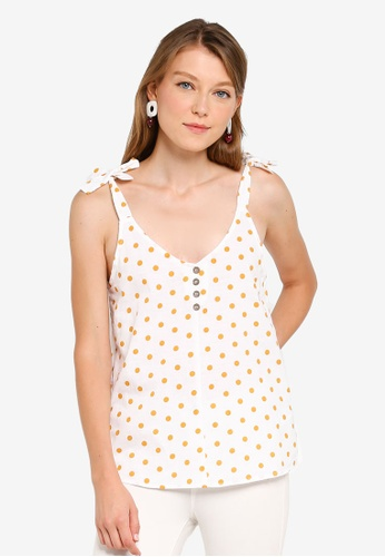 Dorothy Perkins white Ochre Spot Button Cami Top 1721CAA2D6BE27GS_1