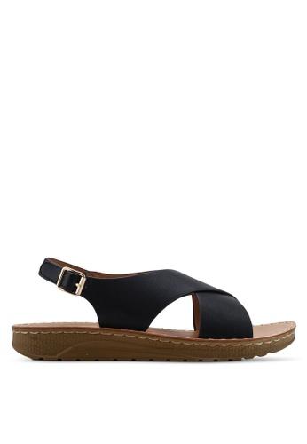 NOVENI 黑色 Cross-Strap Sandals 52FCDSH26F2662GS_1