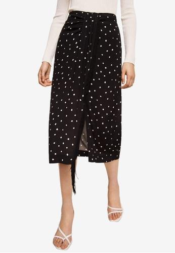 Mango black Fringed Detail Polka-Dot Skirt 01954AA832C10BGS_1