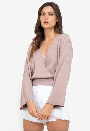 ZALORA BASICS pink Knitted Wrap Top 6216EAAC4AC0DDGS_1