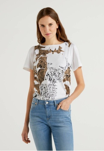 United Colors of Benetton white Organic Cotton Printed T-shirt BDE45AA875D627GS_1