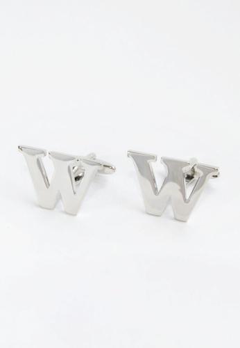 Splice Cufflinks silver Monogram Alphabet Rhodum Plated Cufflinks - W SP744AC67PMMSG_1