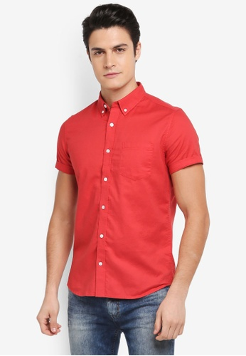 Burton Menswear London red Red Short Sleeve Oxford Shirt B9339AA9F8A99FGS_1
