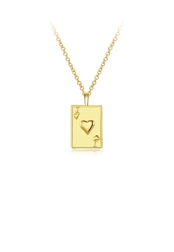 Glamorousky silver Fashion Simple Plated Gold Poker J Pendant with Necklace CC1F7AC392826DGS_1