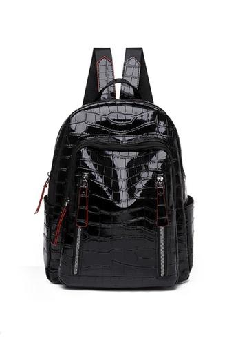 Lara black Women's Water Repellent Breathable Soft PU Leather Zipper Backpack - Black CBF4FAC17F90DDGS_1
