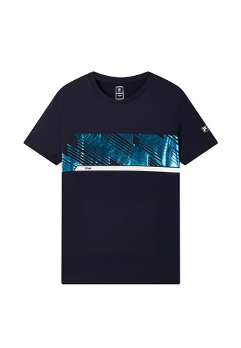 FILA navy FILA Logo High-shine Print T-shirt 24FB6AAB0694ECGS_1