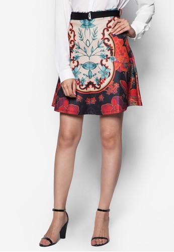 花卉印花腰帶短裙esprit 評價, 韓系時尚, 服飾
