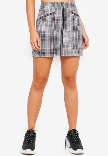 Factorie multi Zip Front A Line Skirt C883EAA1907308GS_1