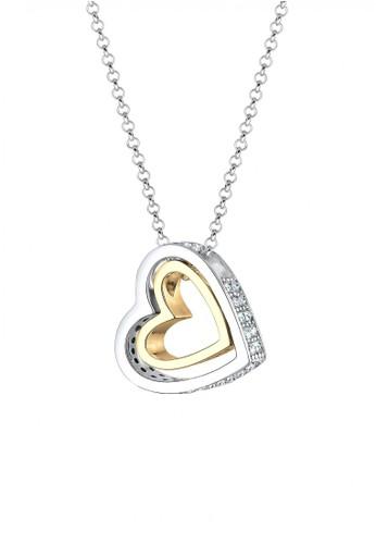 Elli Germany white Perhiasan Wanita Perak Asli - Silver Kalung Heart Bi-Color Crystal Gold Plated EL948AC92CNVID_1