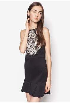 Lace Cut In Fluted Hem Dress