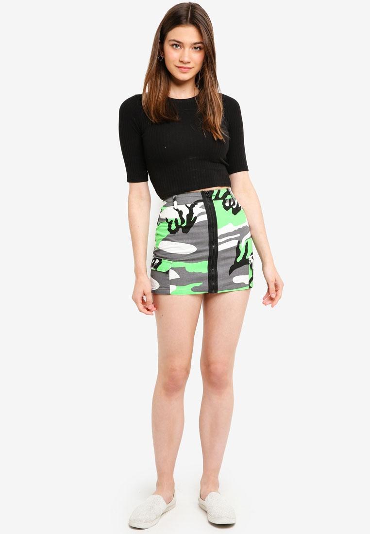 Skirt Green Front Camo Zip Camo Factorie qYwt8Cn