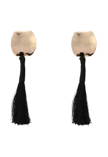 Mango black Fringe Beads Earrings B0151ACC1AC185GS_1