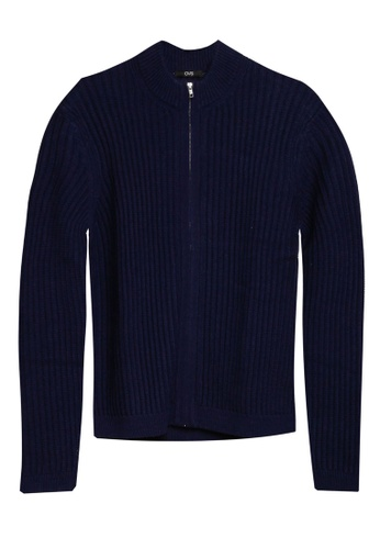 OVS blue High Neck Zip Knitted Cardigan 991F0AAEB90126GS_1