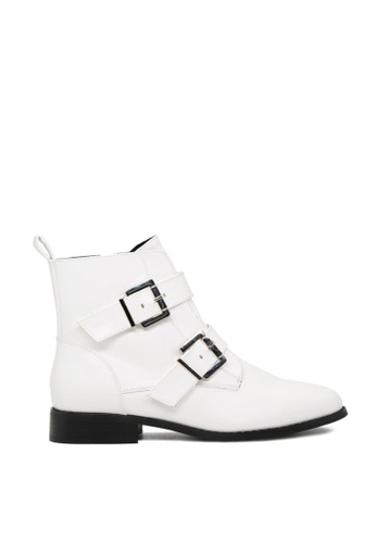 London Rag white Strappy Wide Fit Ankle Boots with Buckles SH1780 E87E1SHF4B8FD7GS_1