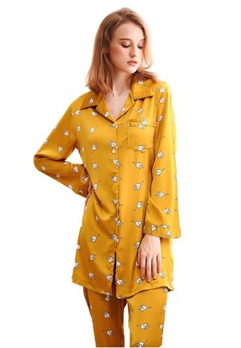 LYCKA 黃色 LCB8016-女士居家休閒睡衣兩件套-黃色 83D37AA20E8989GS_1