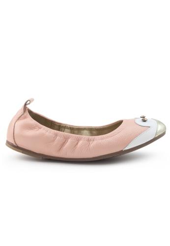 Shu Talk 粉紅色 小牛皮企鵝圖案平底鞋 SH544SH09Z41TW_1