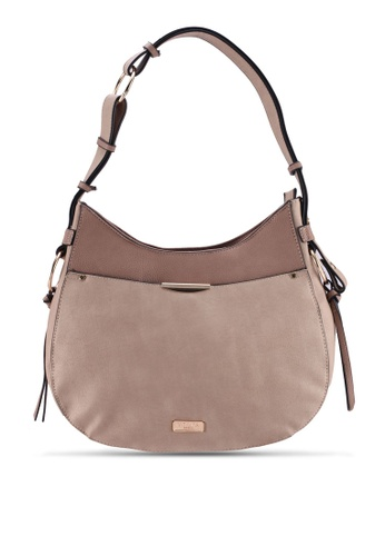 Unisa beige Duo Texture Adjustable Strap Shoulder Bag 0940EAC2214083GS_1