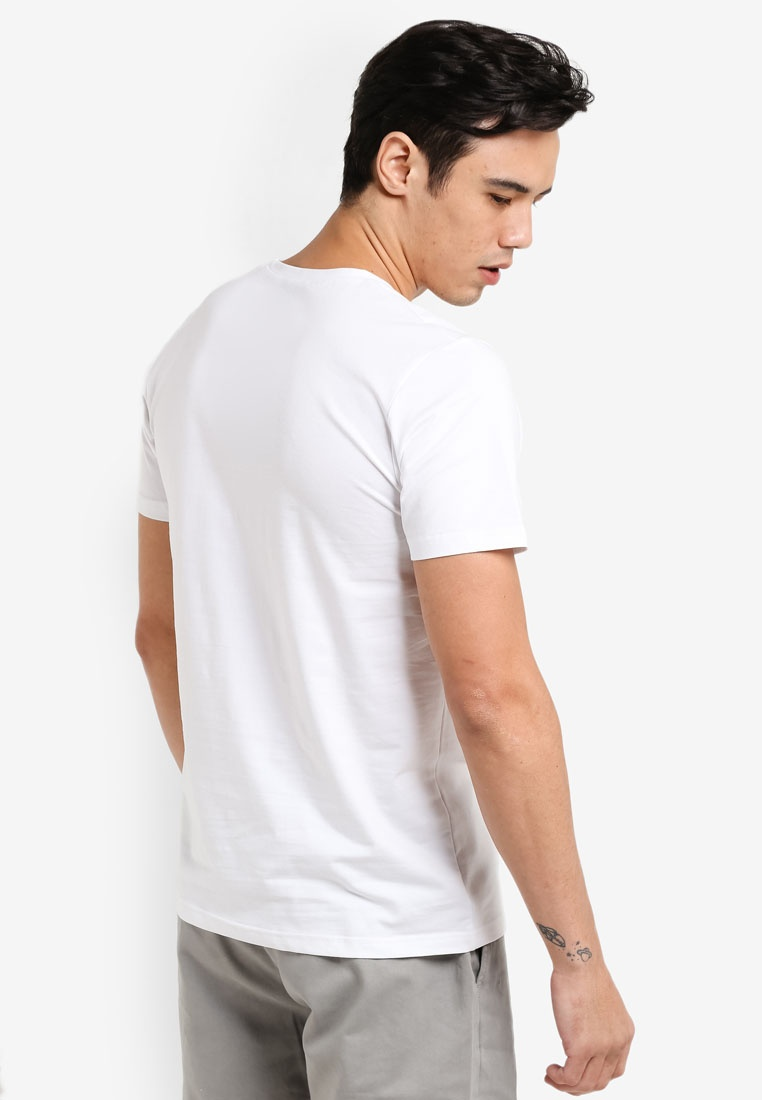 Tee Cotton Pack V 2 ZALORA Short Black Neck White Sleeve SOqWAY