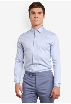 Topman-淺藍色 Premium 綢緞 Touch Smart 襯衫