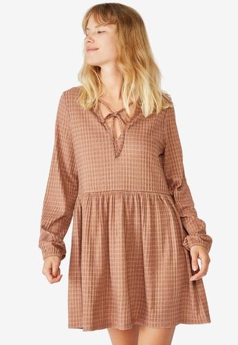 Cotton On brown Larissa Babydoll Mini Dress 31B12AA9C0C07BGS_1