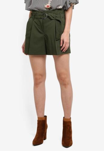 Dorothy Perkins green Khaki O-Ring Shorts E2F90AAE92F443GS_1