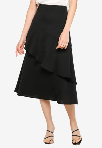 ZALORA BASICS black Asymmetric Ruffle Midi Skirt 2EE7CAAB32DE88GS_1