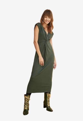 iROO green Knotted Sleeveless Dress 7F3EDAAC2AE0A8GS_1