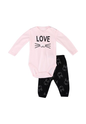 FOX Kids & Baby pink New Born Bodysuit+Knit Pants Set 83A21KAF18297CGS_1